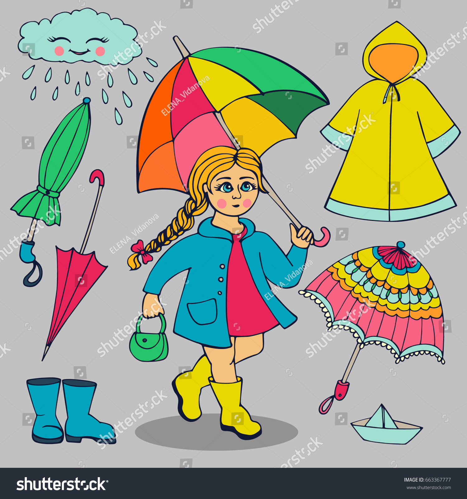 Set Clothes Accessories Rainy Weather Girl Stock Vector