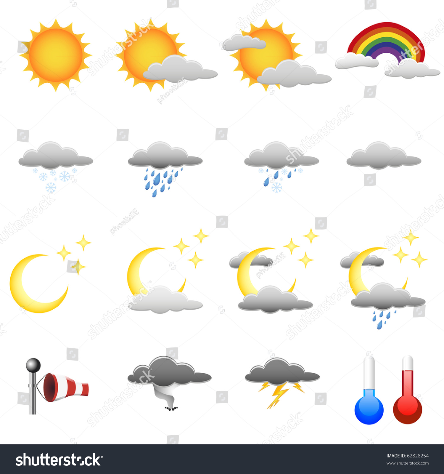 Set Detailed Weather Symbols Stock Vector