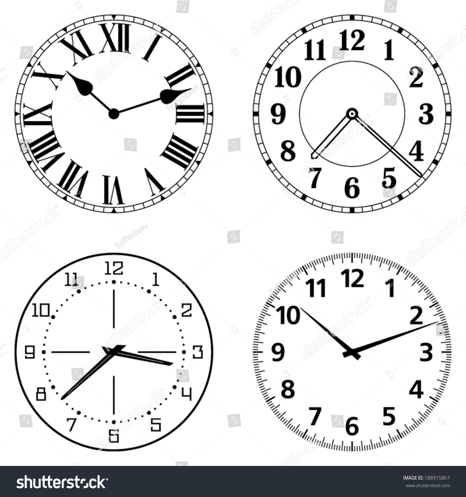 Set Of Different Clock Faces Editable Clock Easily