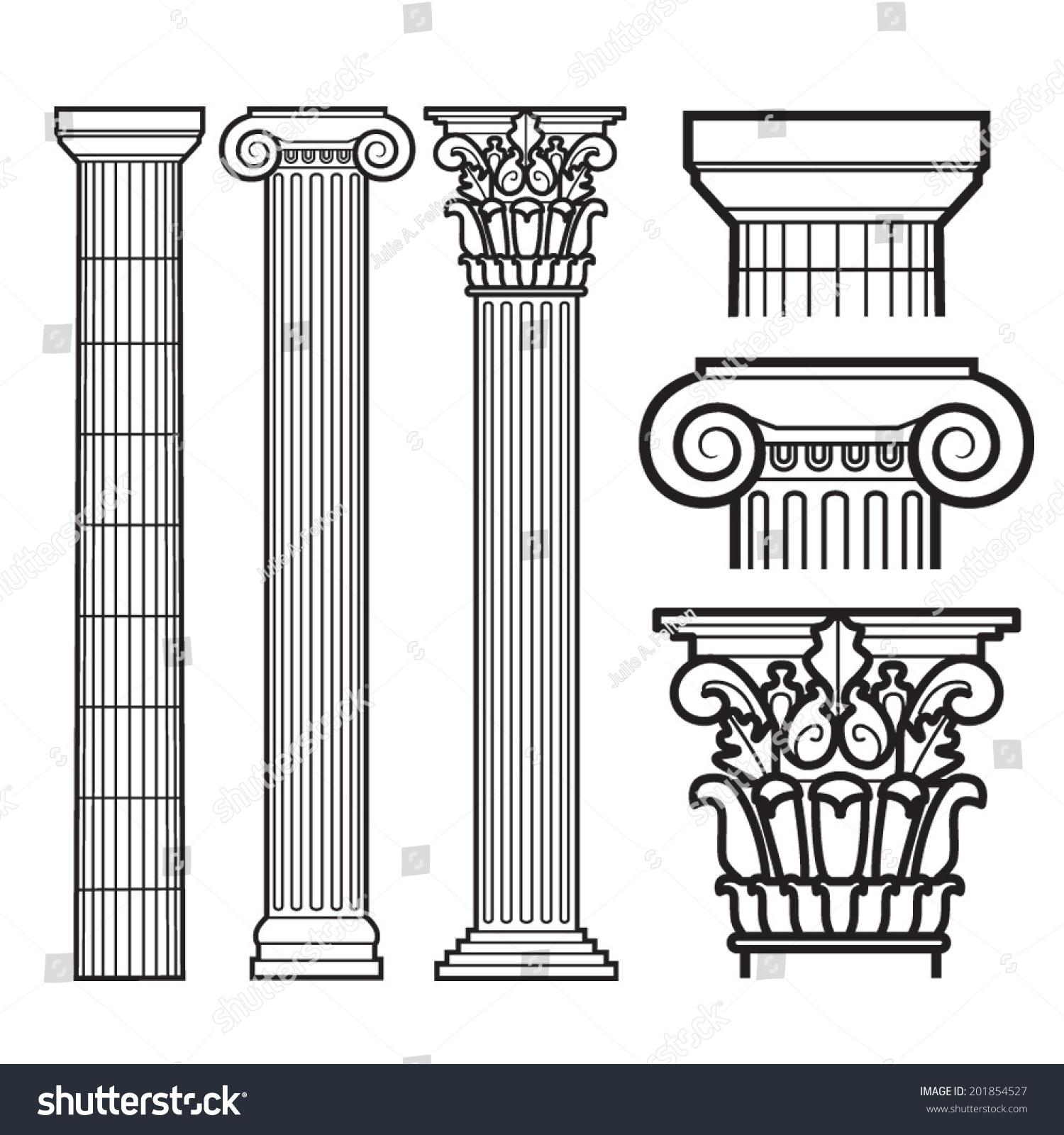 Set Doric Ionic Corinthian Columns Stock Vector