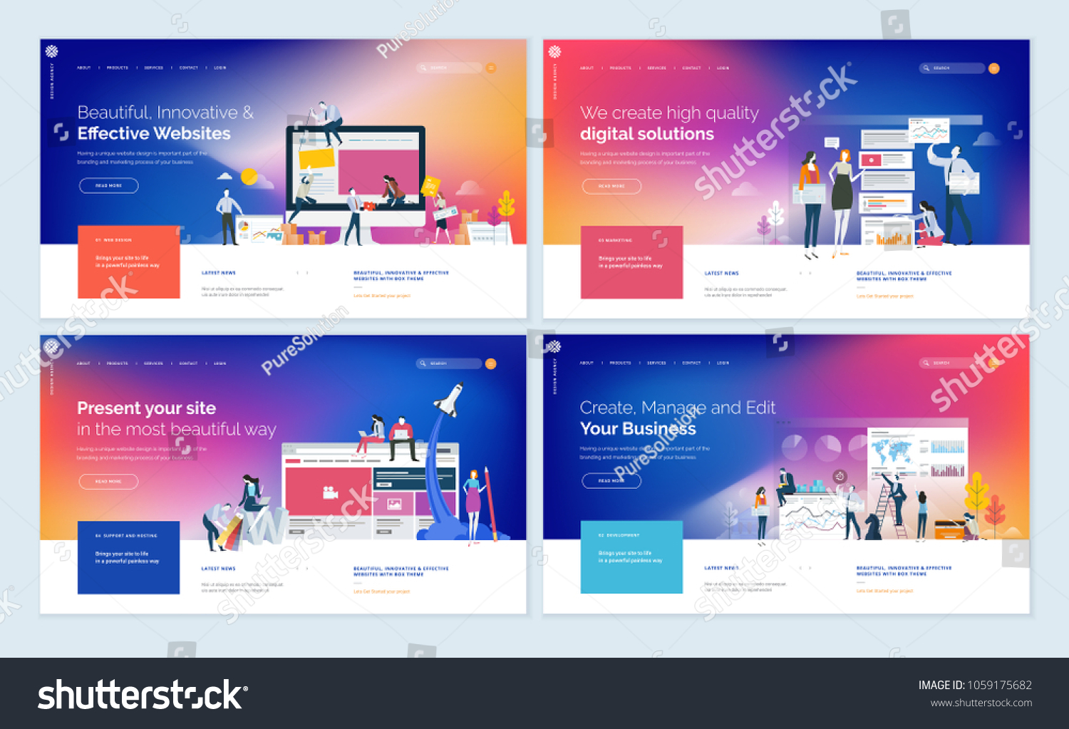 Though it is a tiny web template, it is crafted with 18 html pages, 11 section pages, 6 blog pages and many more. Set Effective Website Template Designs Modern Stock Vector Royalty Free 1059175682