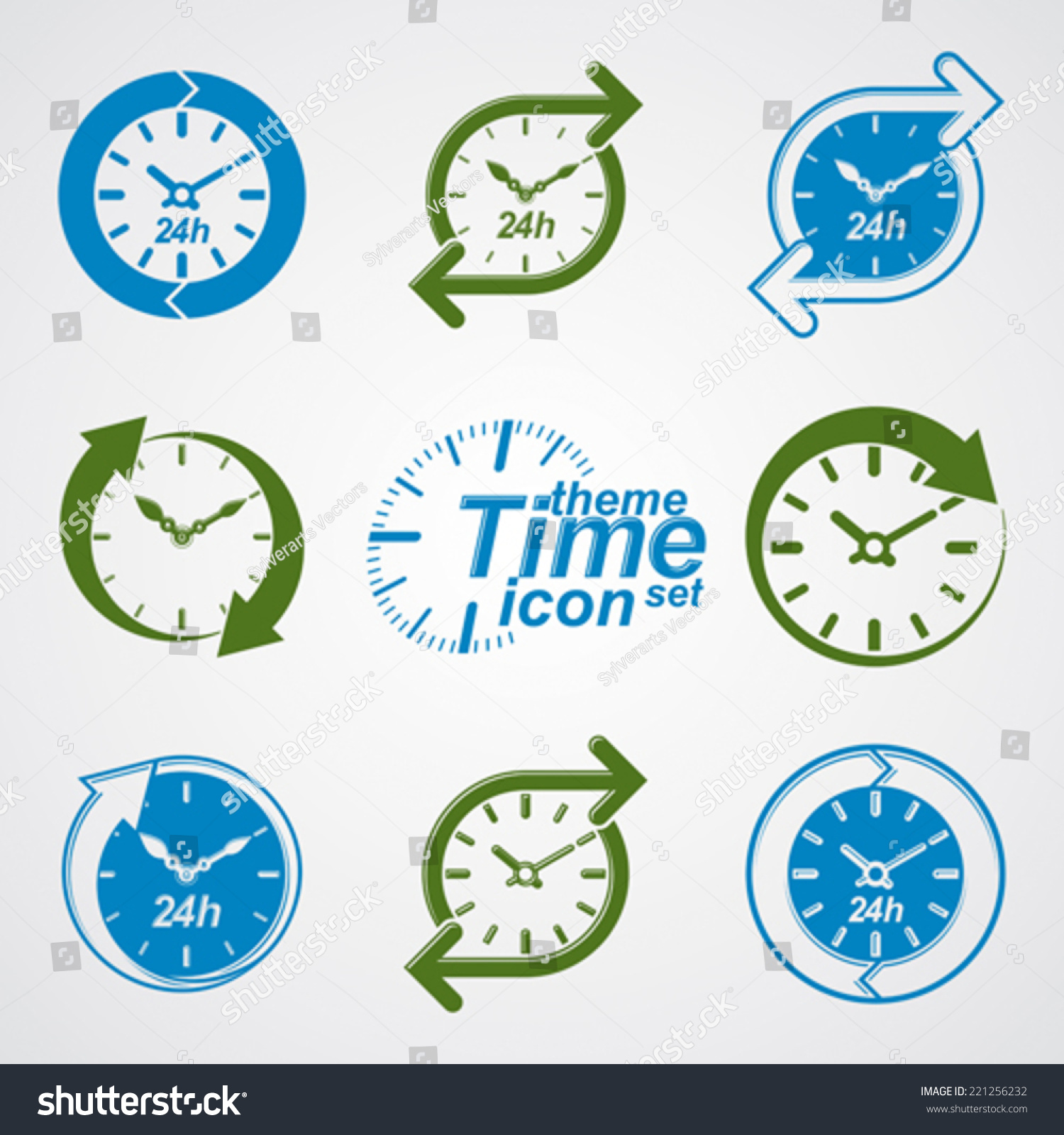 Set Of Graphic Web Vector 24 Hours Timers Around The