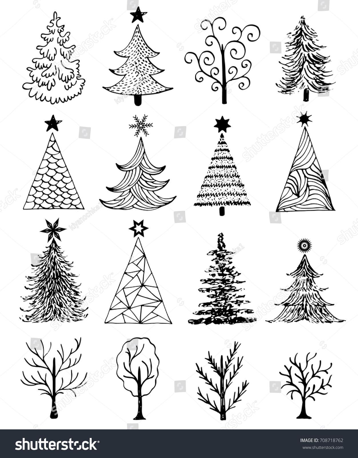 Set Hand Drawn Christmas Tree On Stock Vector 708718762