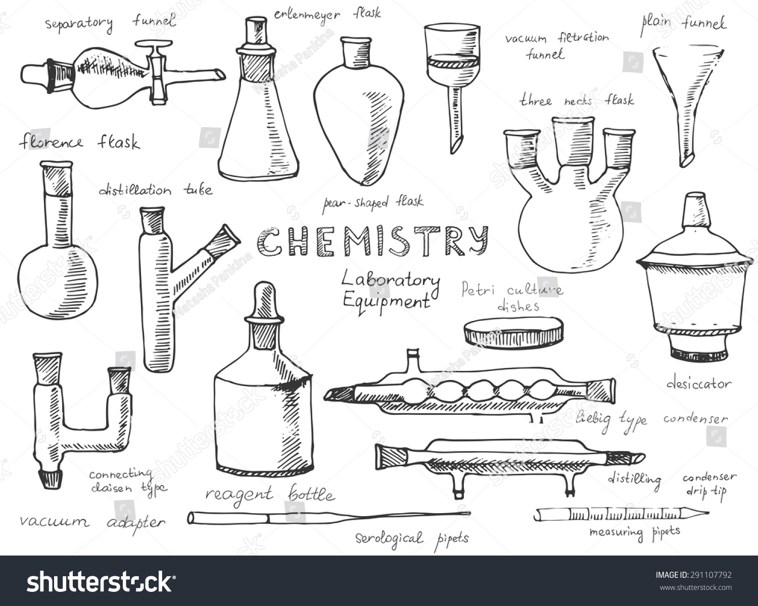 Set Hand Drawn Science Chemical Equipment Stock Vector