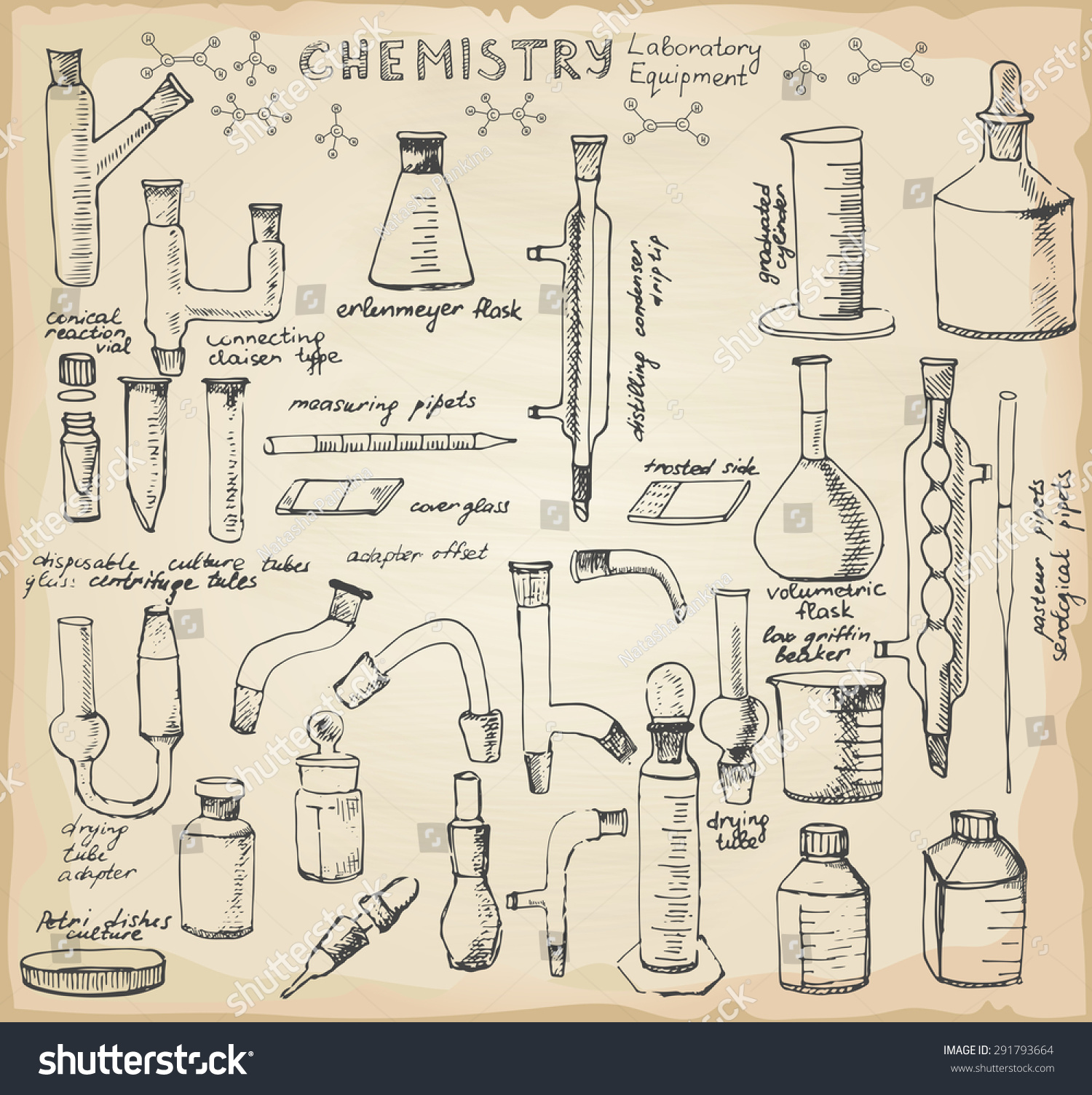 Set Hand Drawn Science Glass Chemical Stock Vector
