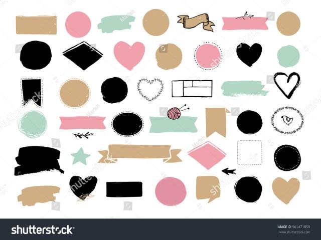Set of hand drawn shapes - hearts, ribbons, banners and circles, Vector design elements