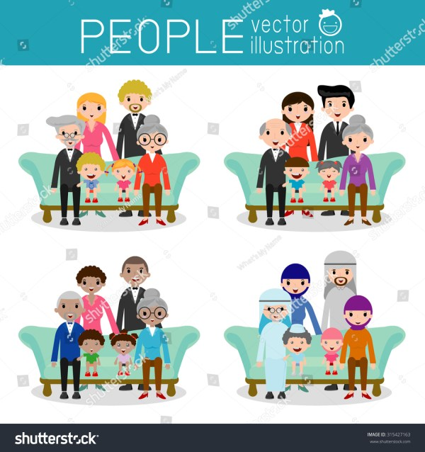 Set Happy Family Different Nationalities Dress Stock ...