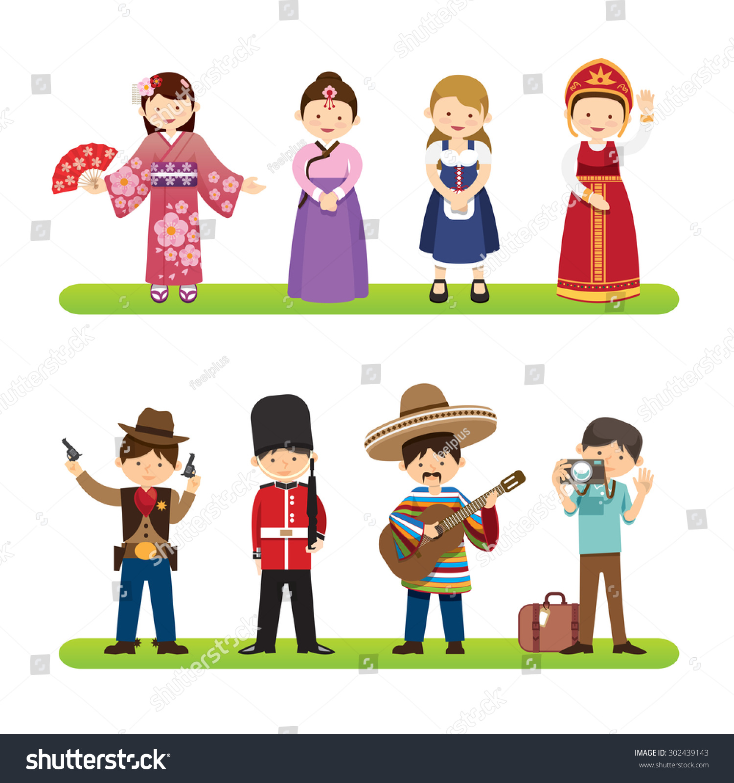 Set International People Isolated On White Stock Vector