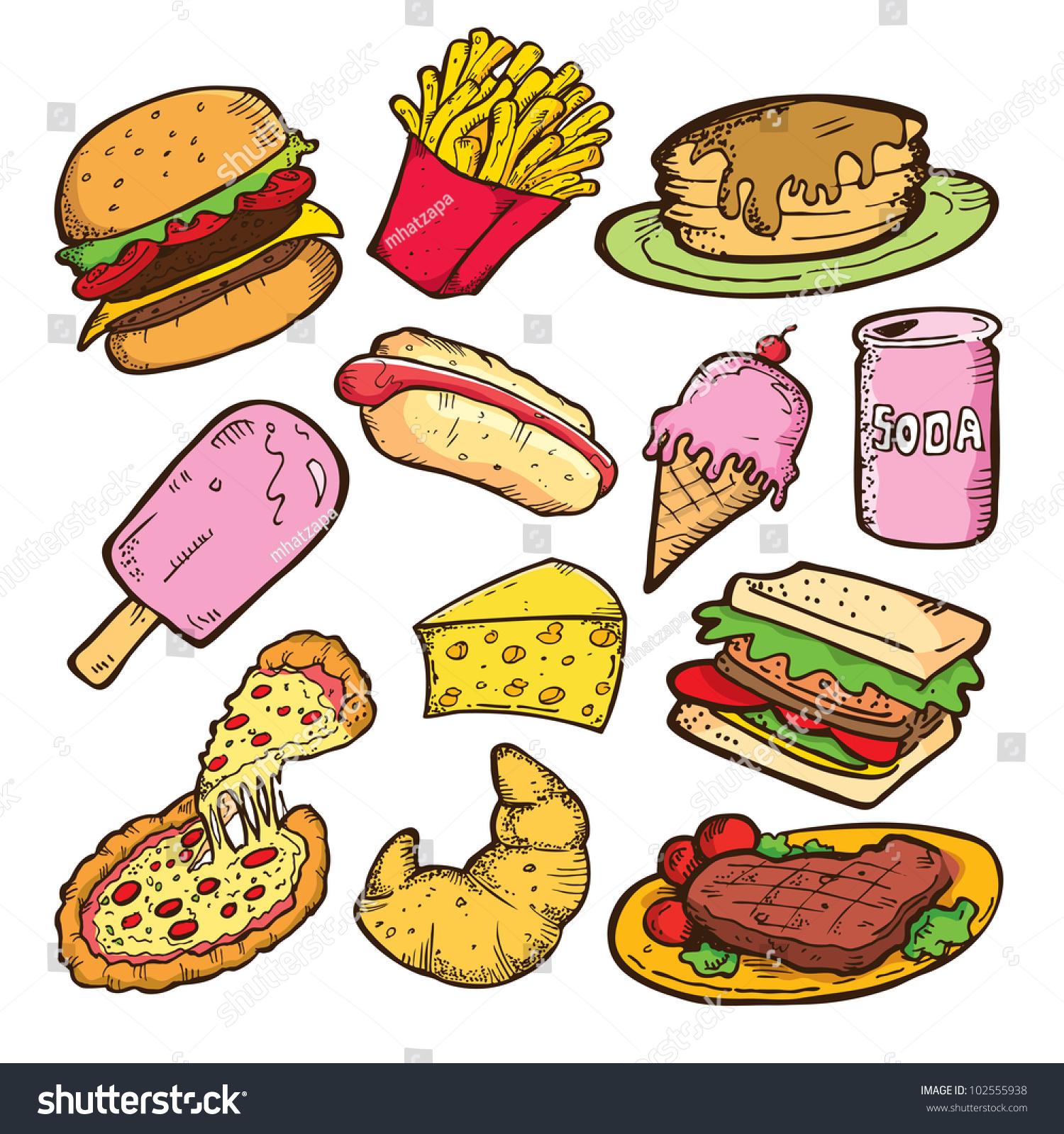 Set Junk Food Doodle Stock Vector 102555938 Shutterstock