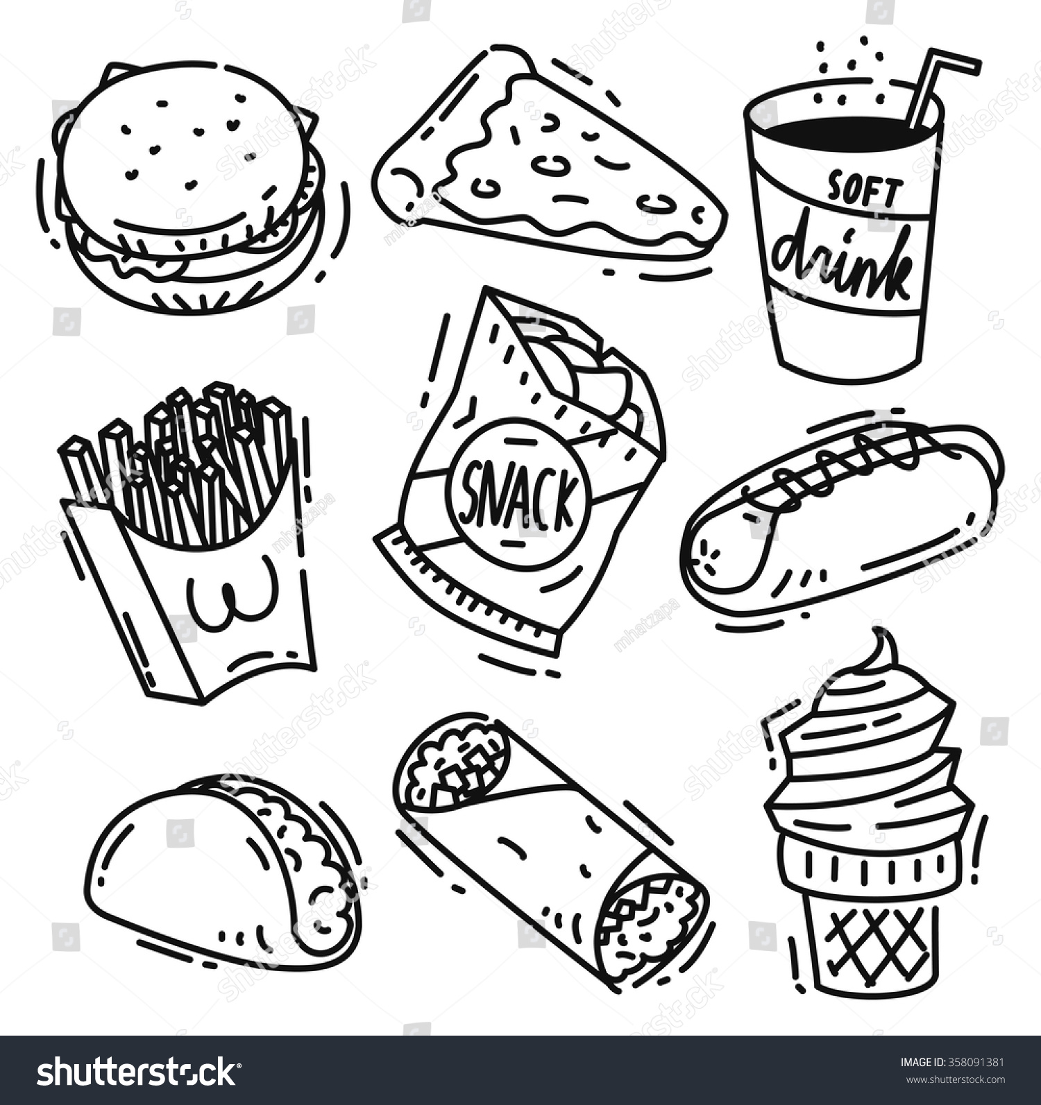 Set Junk Food Icon Doodle Isolated Stock Vector