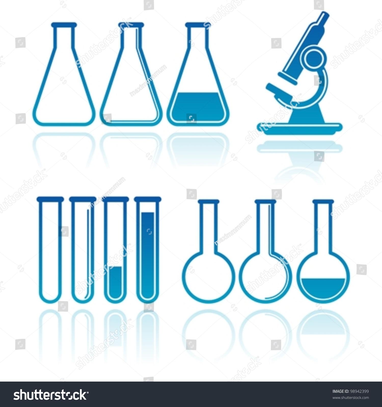Set Laboratory Equipment Stock Vector