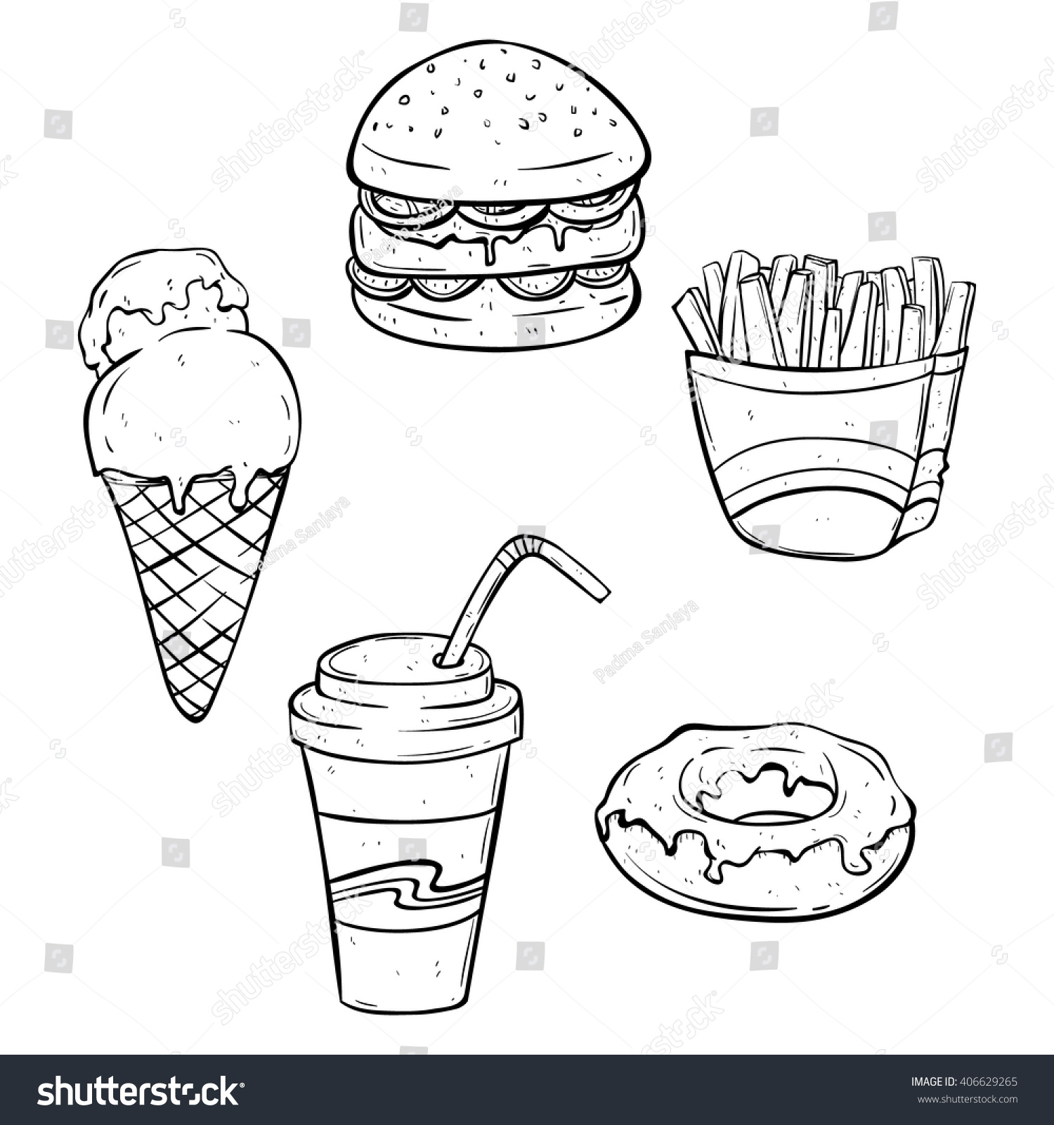 Set Lunch Fast Food Junk Food Stock Vector