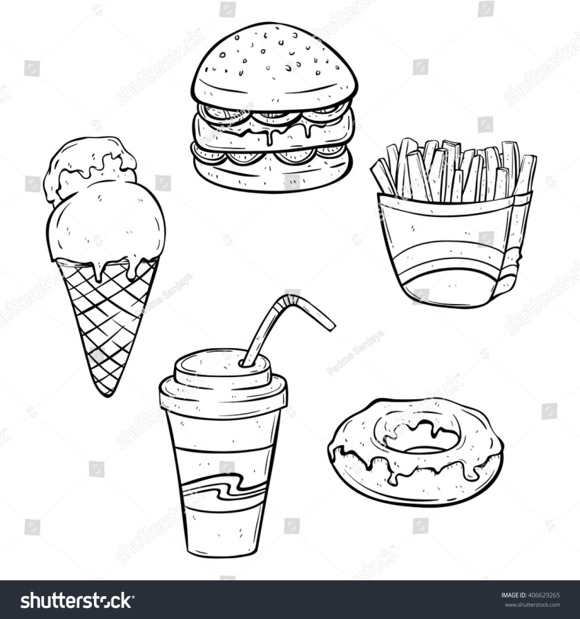 set lunch fast food junk food stock vector 66292