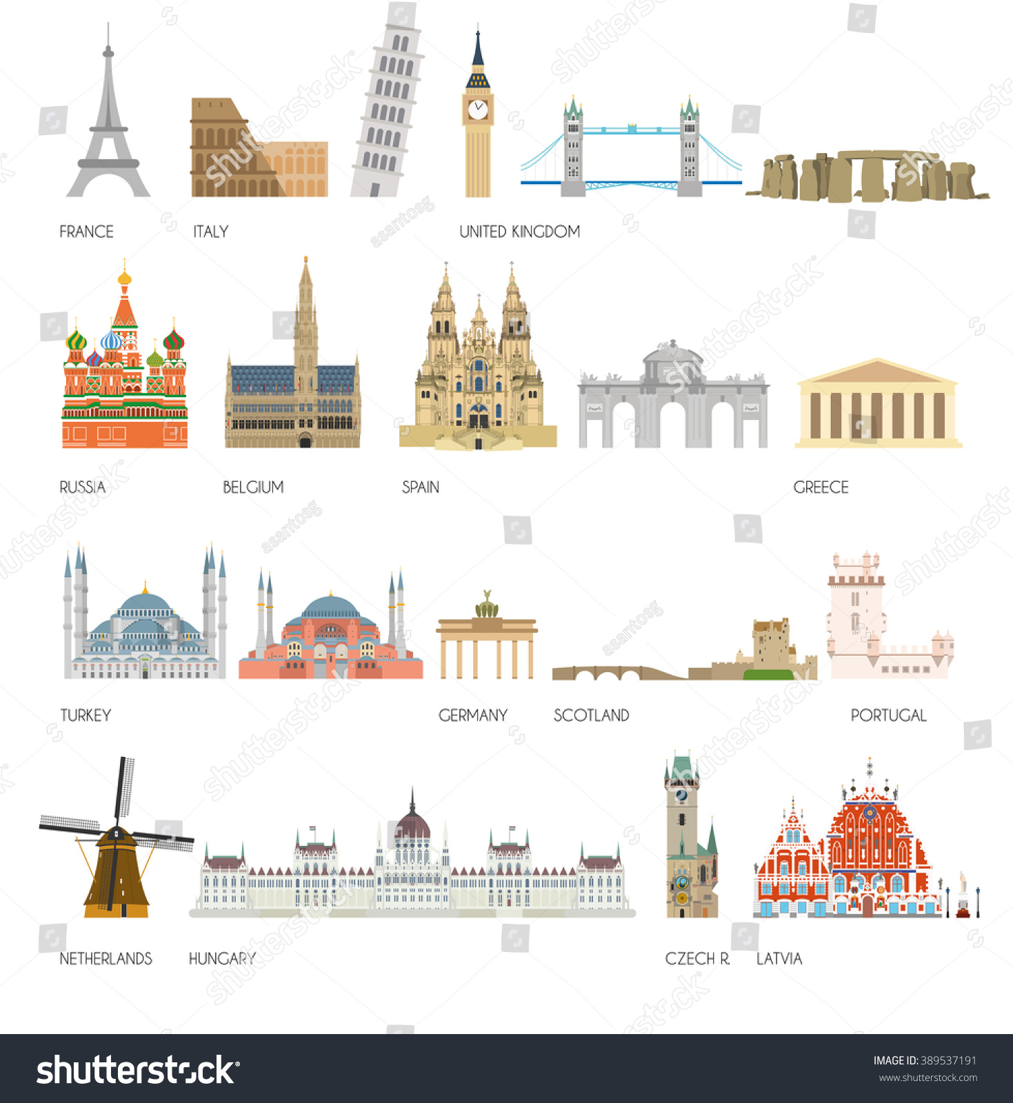 Set 20 Monuments Landmarks Europe Vector Stock Vector
