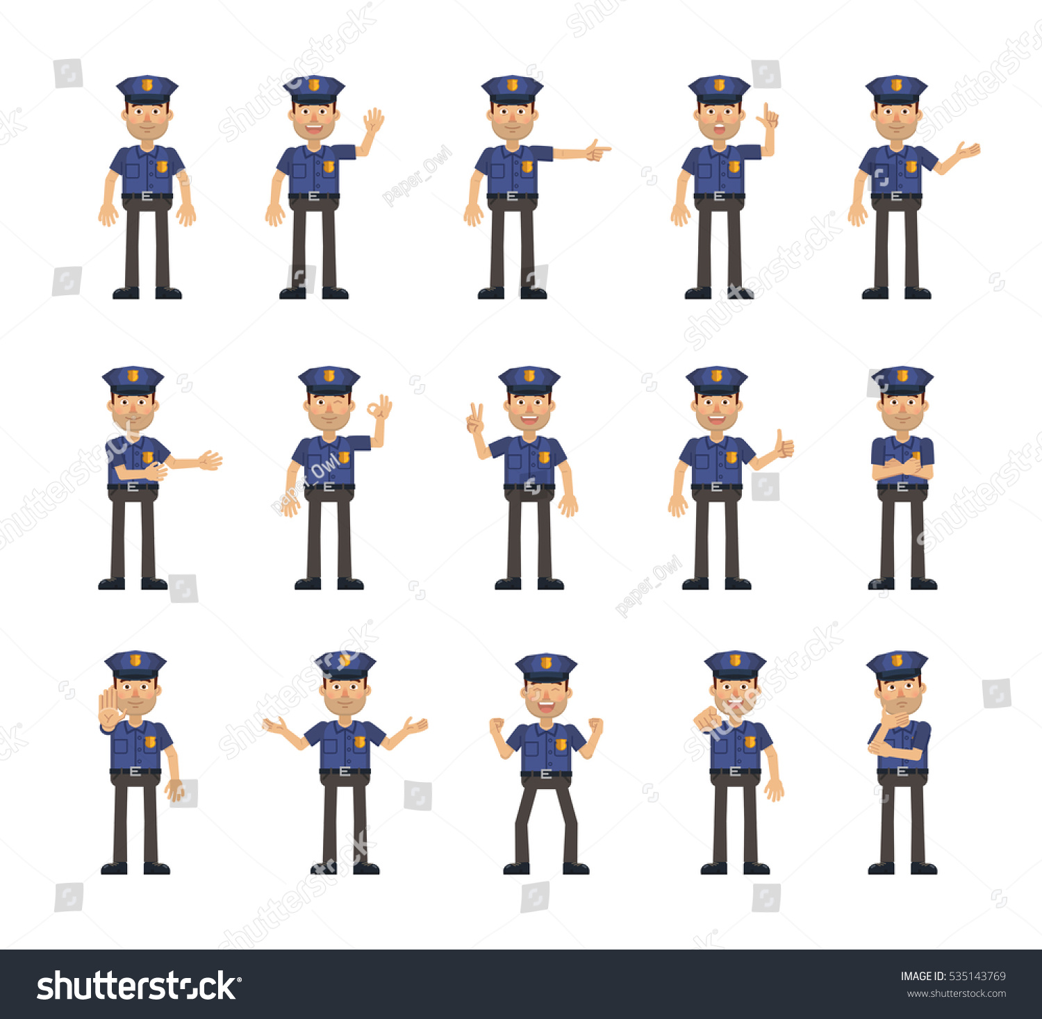 Set Policeman Characters Showing Different Hand Stock