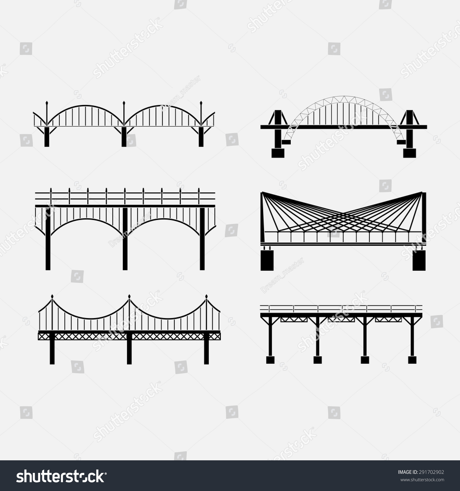 Set Silhouette Bridge Icons Bridges Various Stock Vector