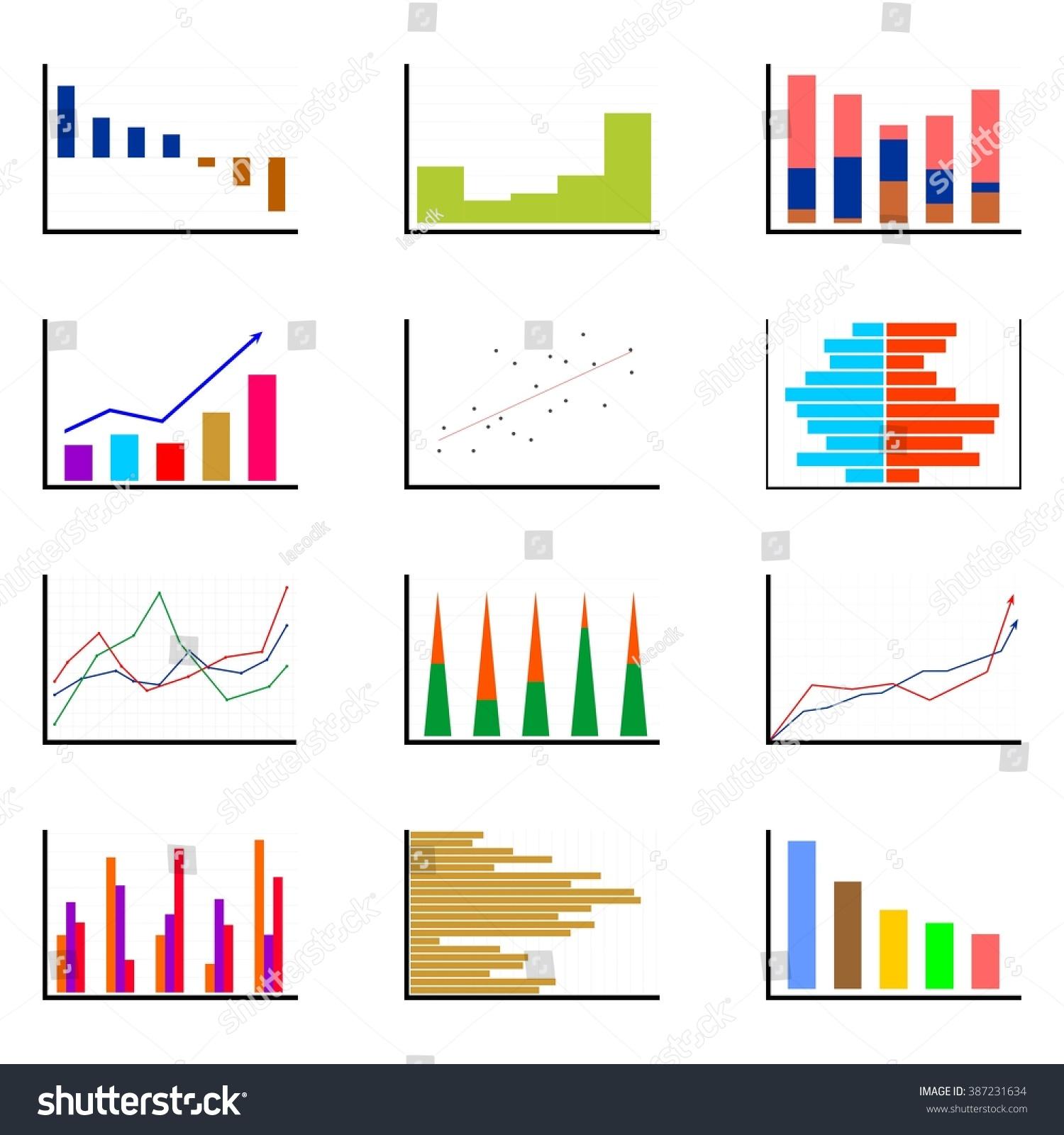 Set Various Bar Graphs Different Colors Stock Vector