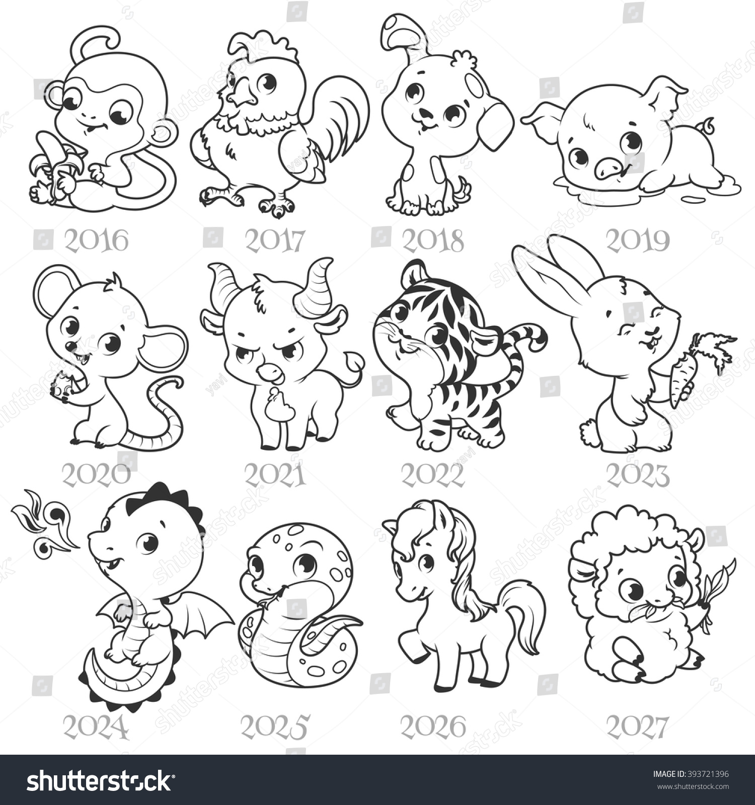 Set Of Zodiac Signs In Cartoon Style Chinese Zodiac