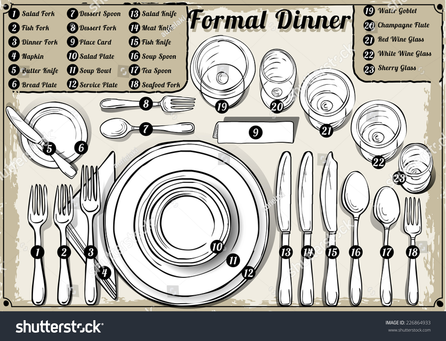 Setting Place Formal Placemat Place Setting Stock Vector