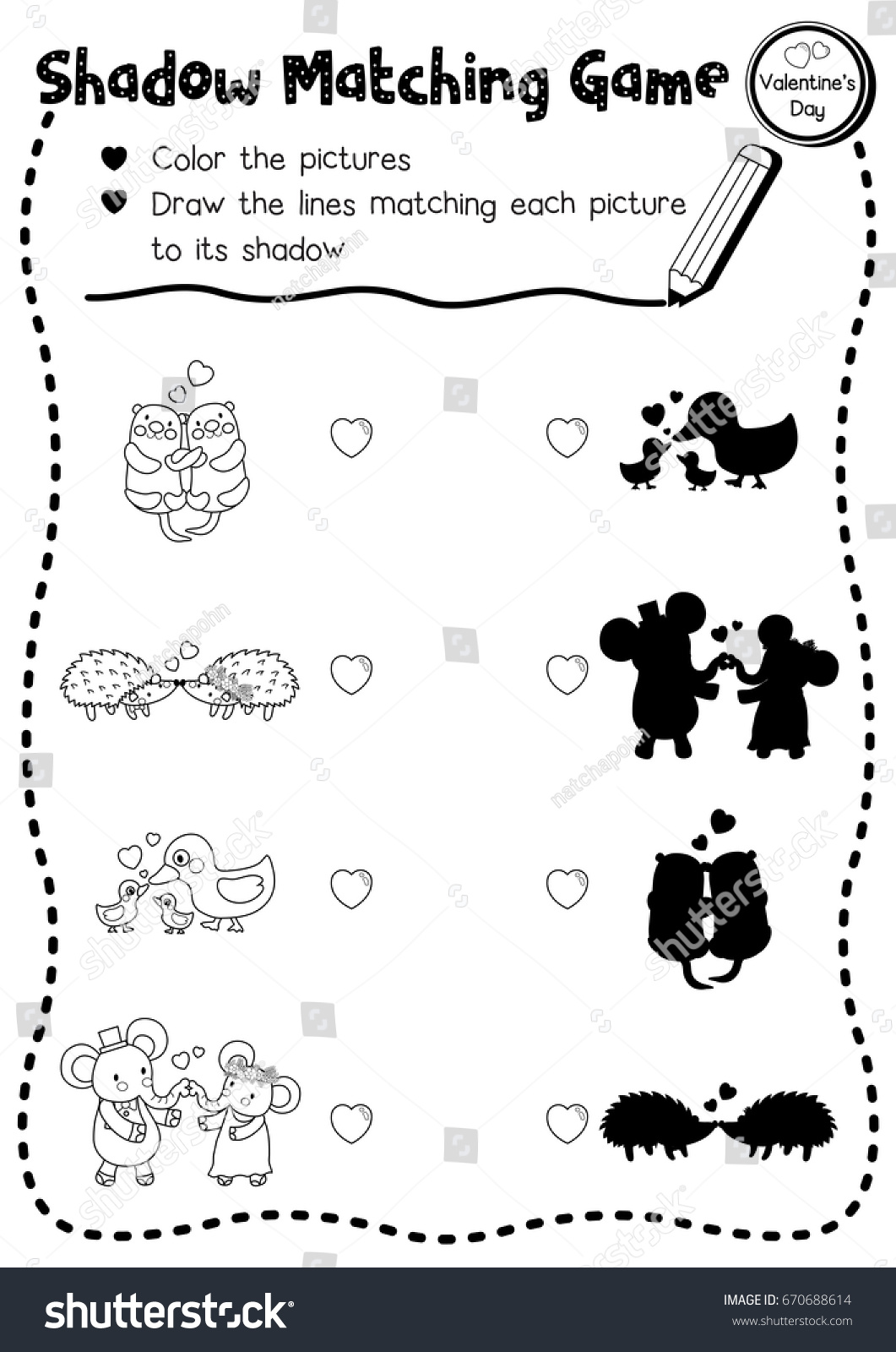 Valentines Matching Preschool Printable Worksheets
