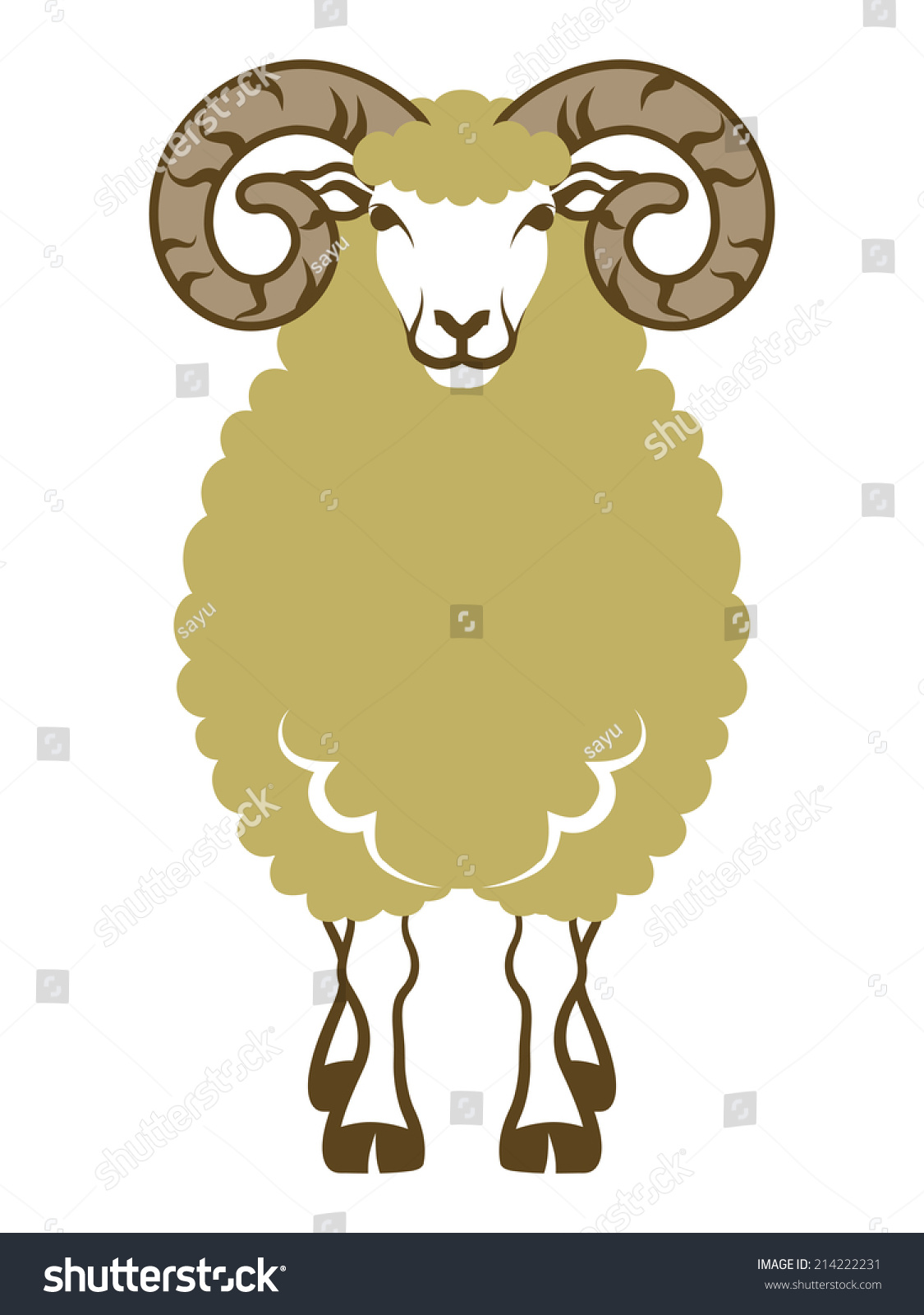 Sheep Front Viewclip Art Stock Vector