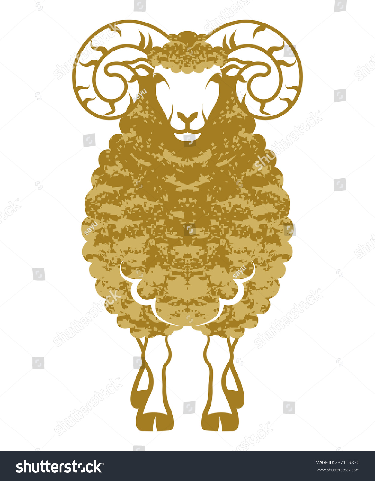 Sheep Front Viewgolden Colorclip Art Stock Vector