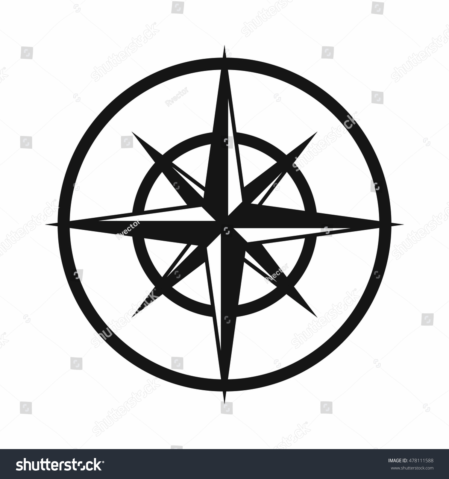 Sign Compass Determine Cardinal Directions Icon Stock
