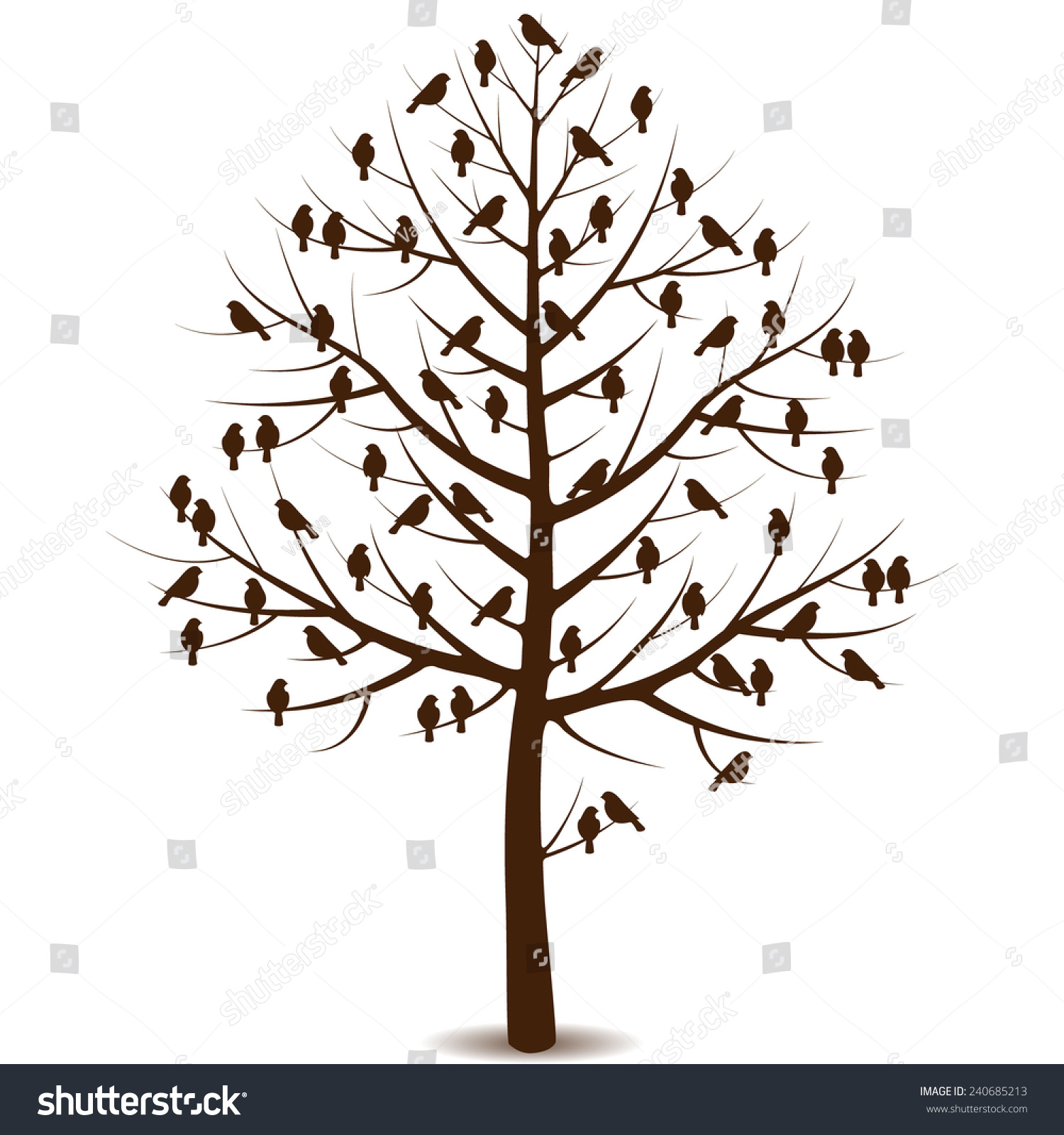 Silhouette Tree Without Leaves Sitting Birds Stock Vector