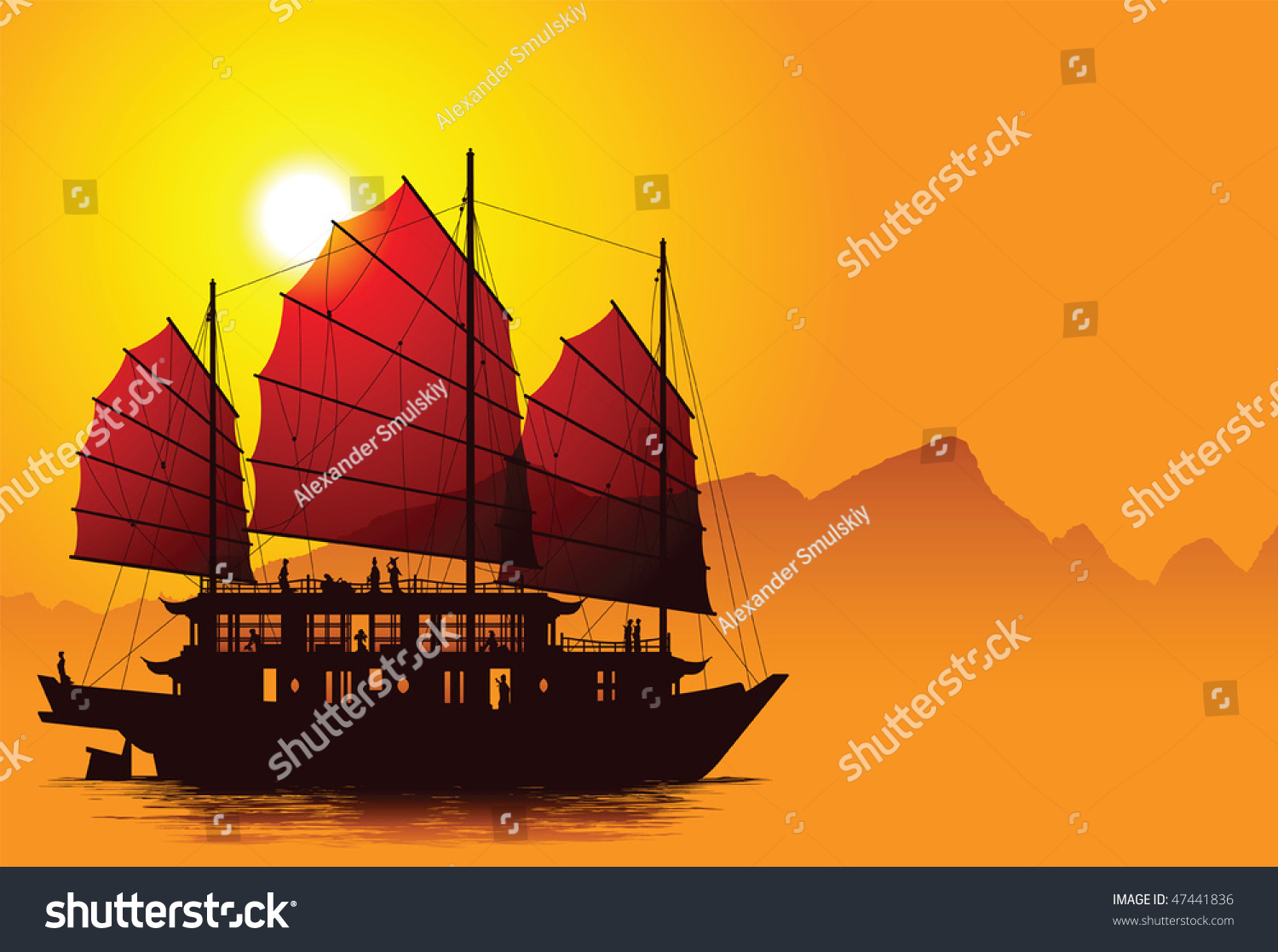 Silhouette Chinese Junk Mountains On Background Stock