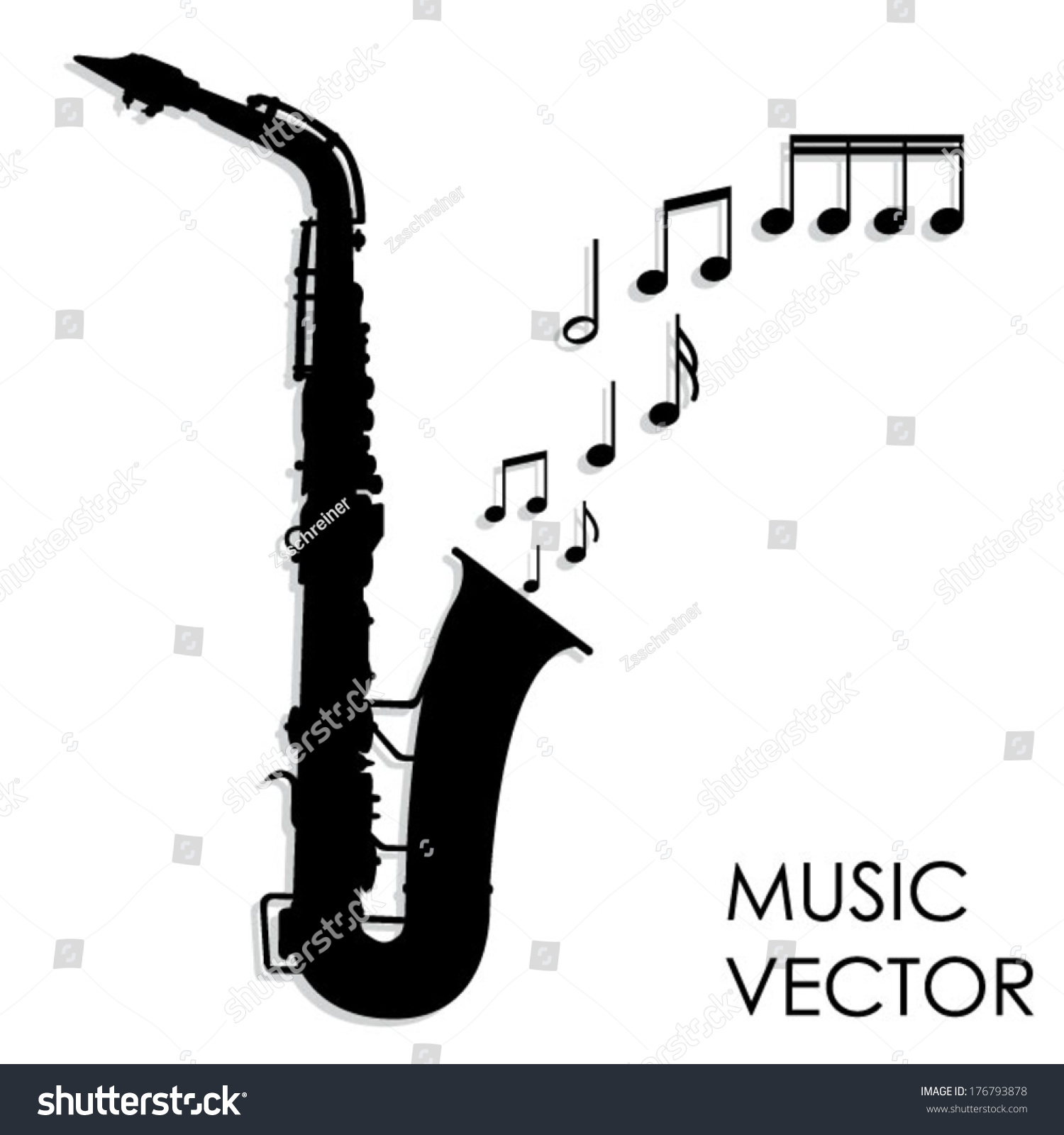 Saxophone Silhouette Vector