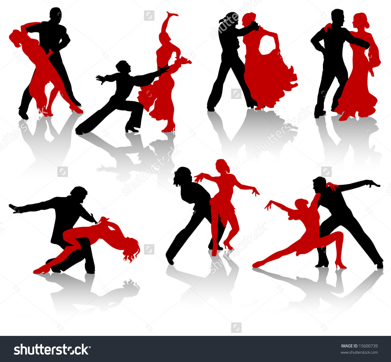 Stock Vector Silhouettes Of The Pairs Dancing Ballroom Dances A Waltz A Tango A Foxtrot on Foxtrot Dance Steps Diagram