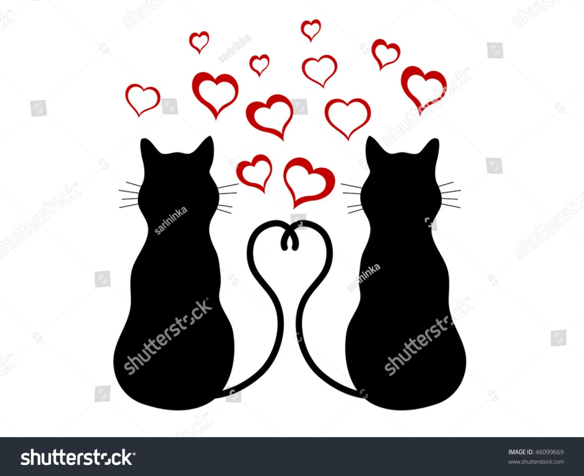 Download Silhouettes Of Two Cats In Love - Vector Illustration ...