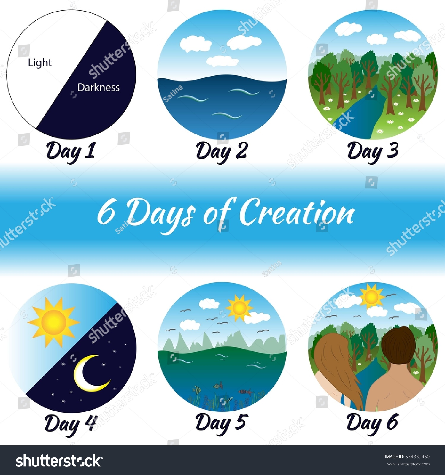 Six Days Creation Bible Creation Story Stock Vector