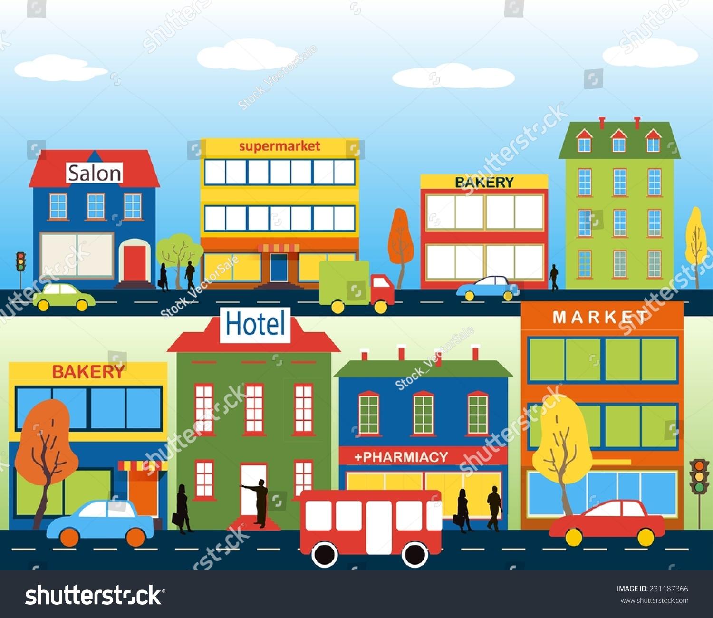 Small Town Medium Business Set Buildings Stock Vector