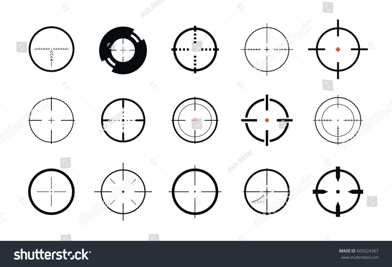Sniper Sight Symbol Crosshair Target Set Stock Vector