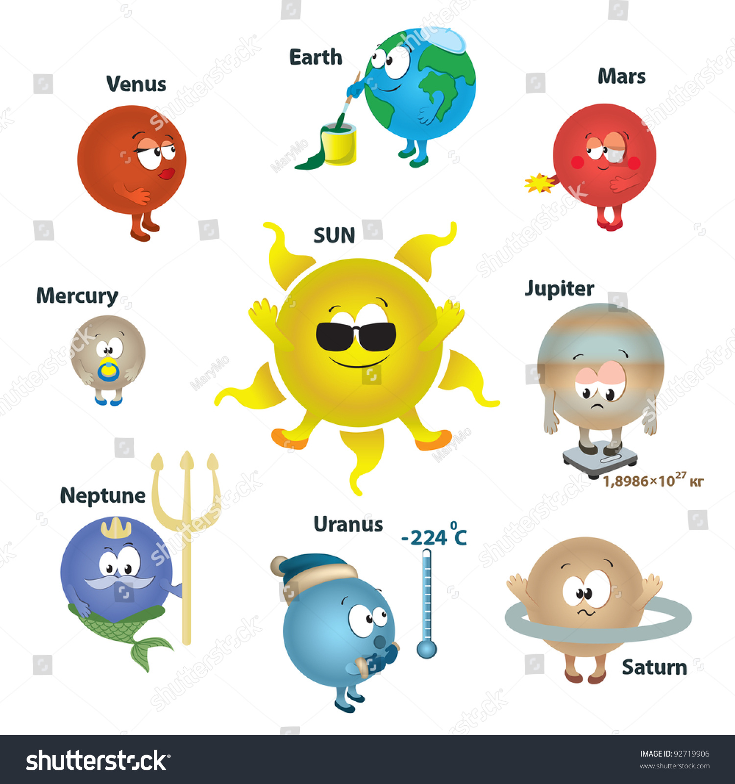 Solar System Kids Card Concept Planet Stock Vector