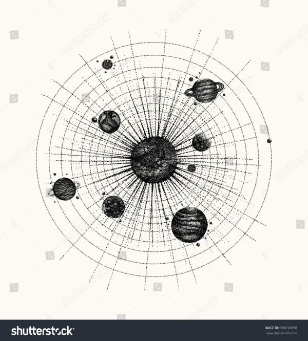 Solar System Dotwork Style Planets Orbit Stock Vector ...