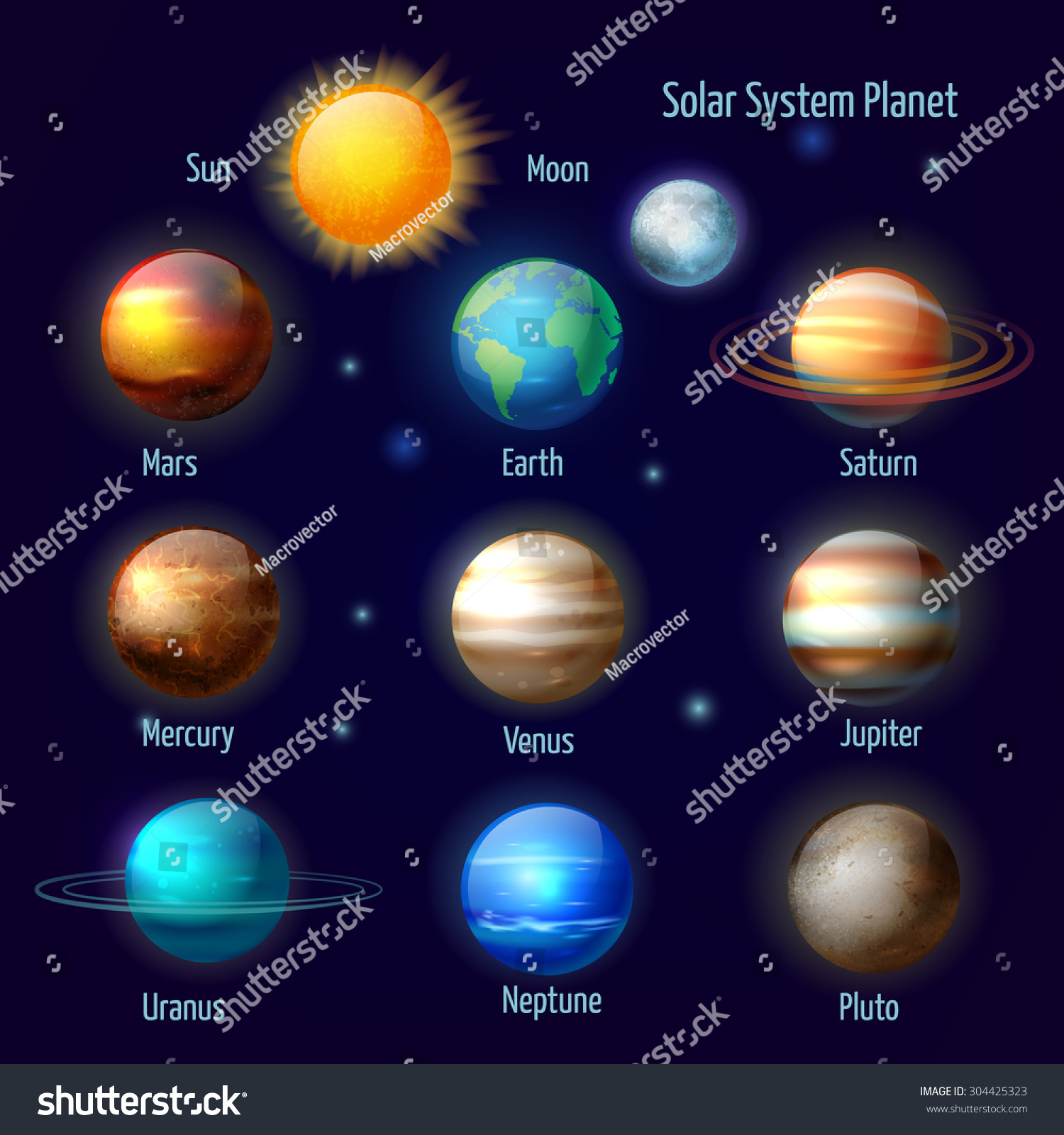 Solar System 8 Planets Pluto Sun Stock Vector