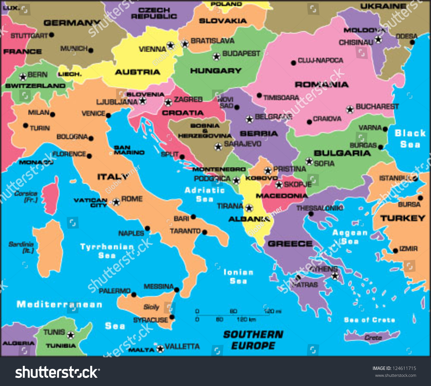 Southern Europe Stock Vector Illustration