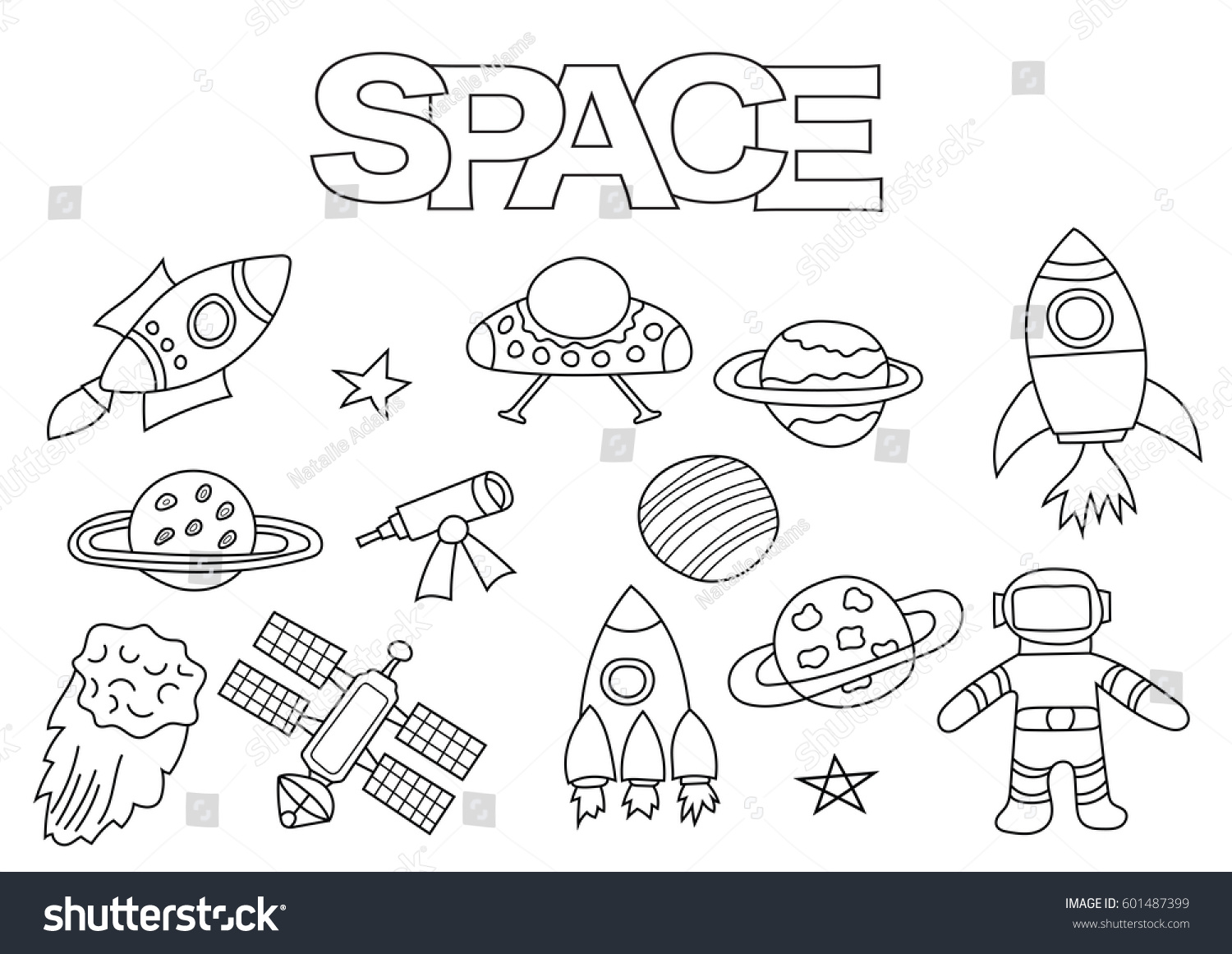 Space Elements Hand Drawn Set Coloring Stock Vector