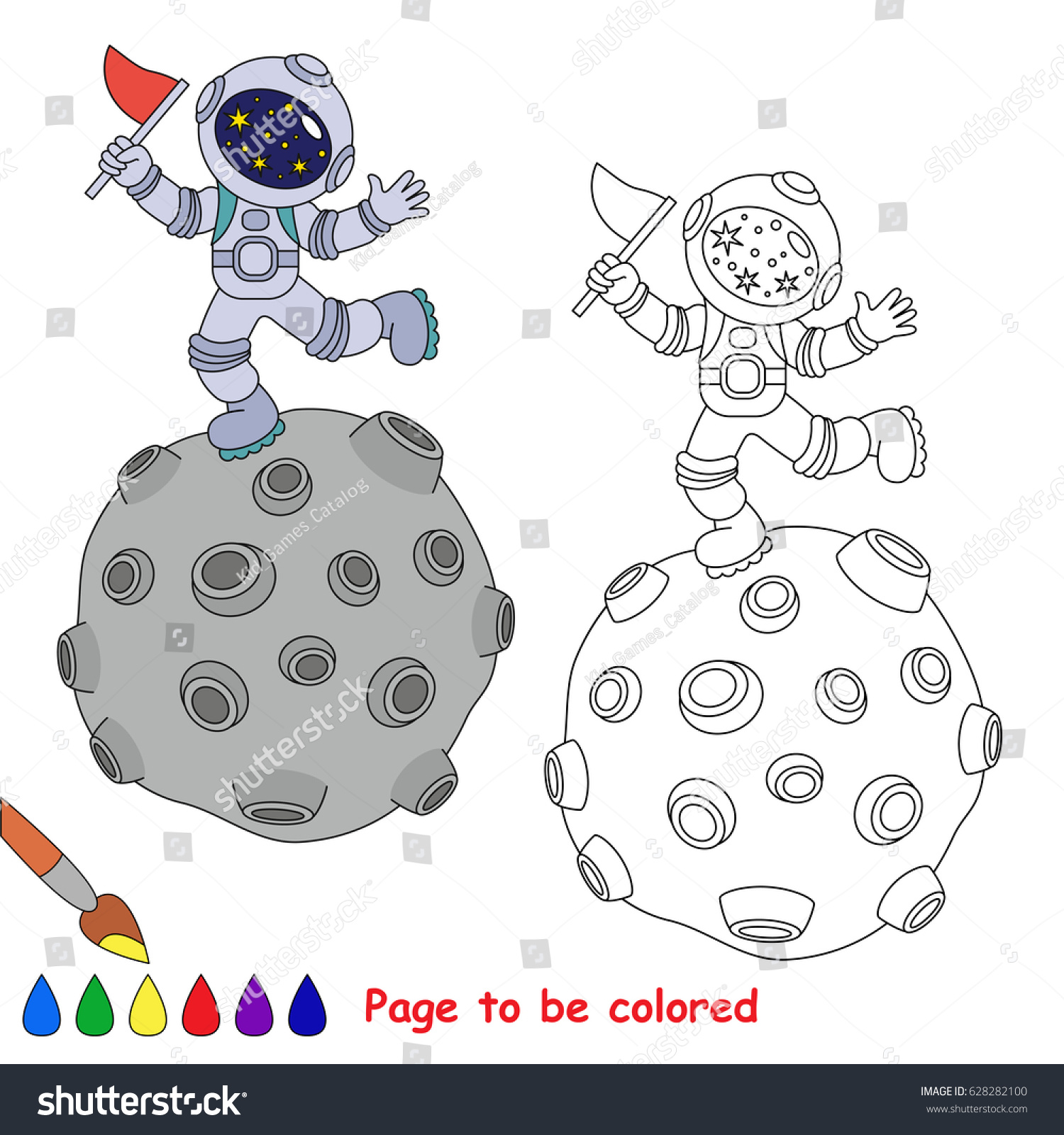 Spaceman On Planet Be Colored Coloring Stock Vector