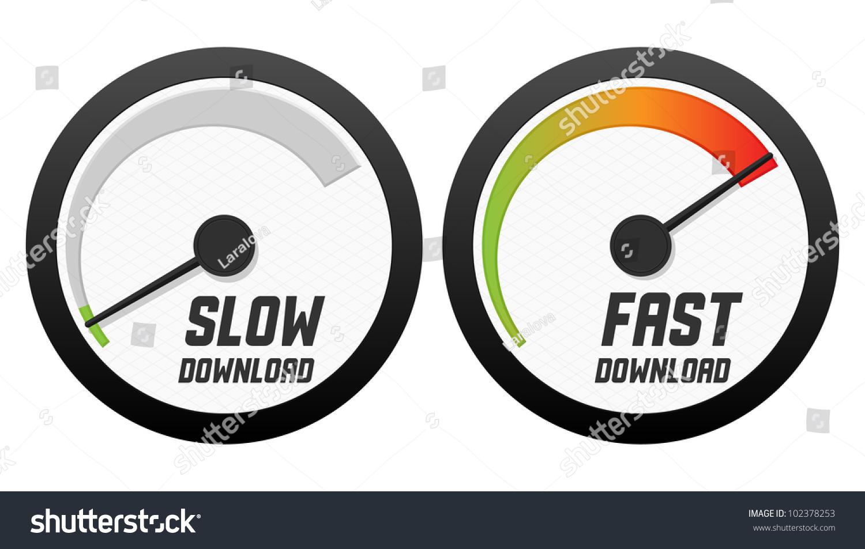 Speedometers Slow Fast Download Vector Illustration Stock