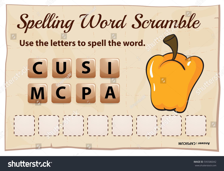 Spelling Word Scramble Game Word Capsicum Stock Vector