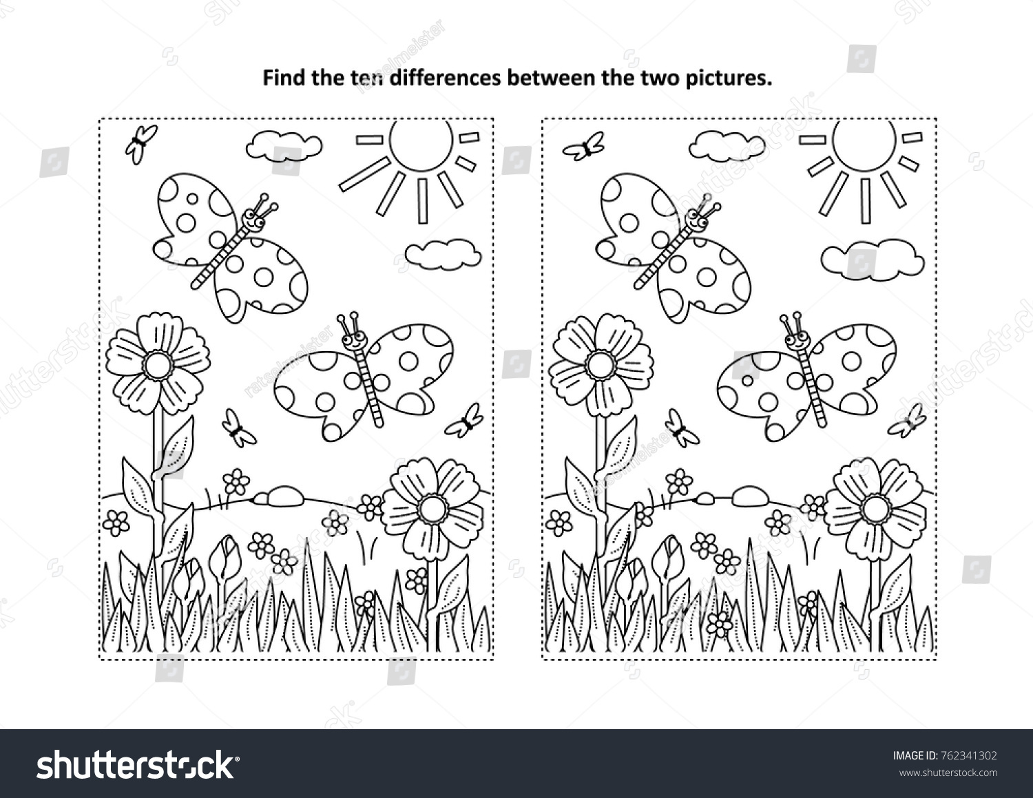 Summer Spot The Difference Printable