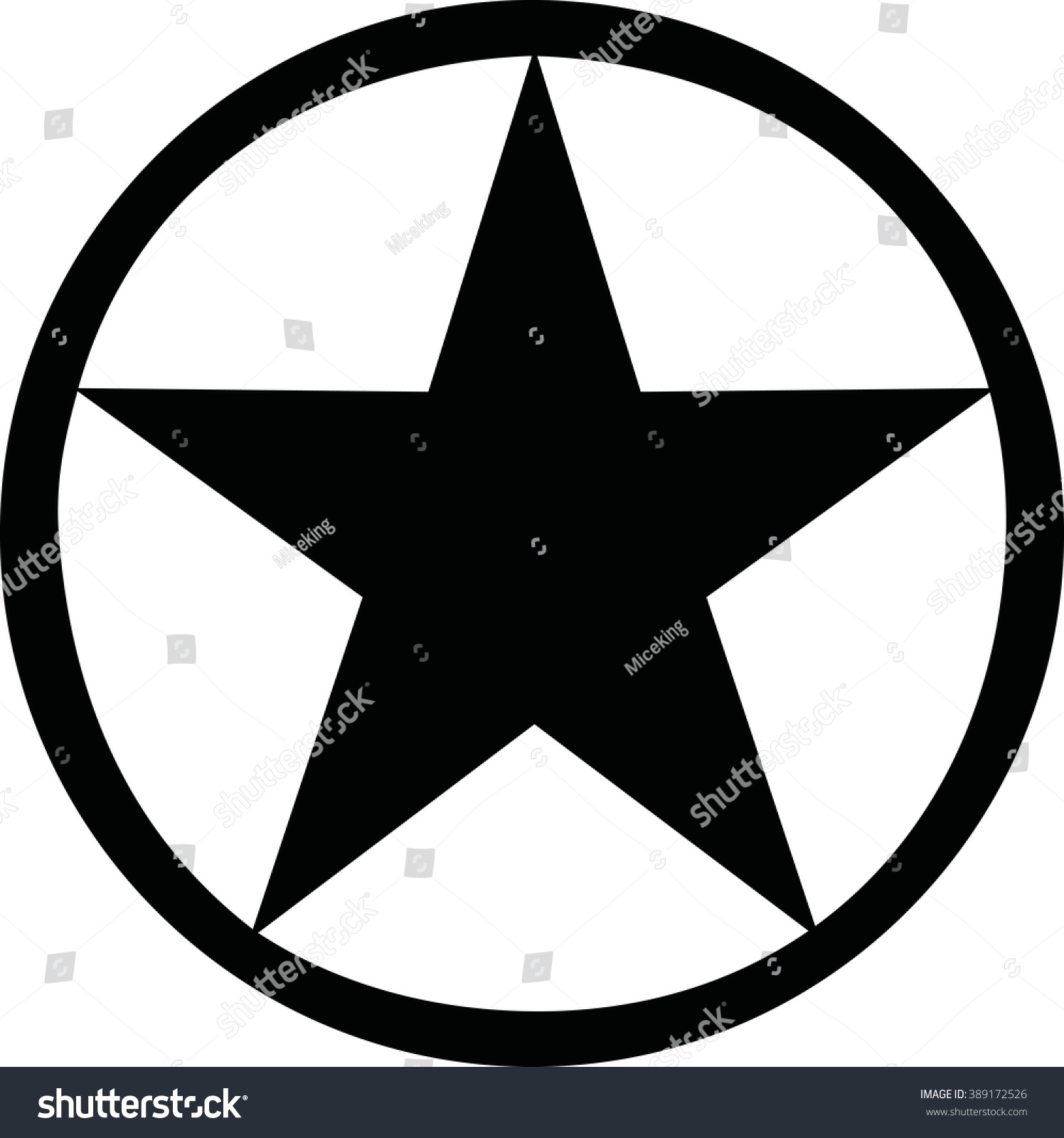 Star With Black Circle Around It Stock Vector