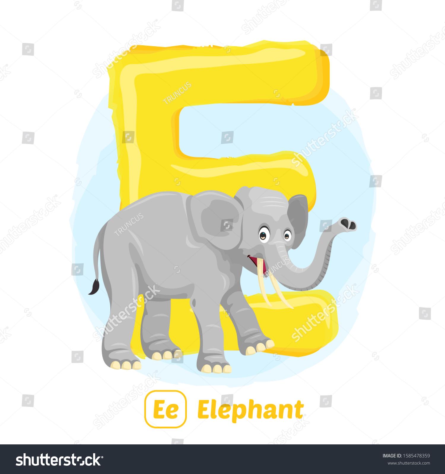 Stock Vector E Elephant Alphabet Animal Stock Vector Royalty Free 1585478359