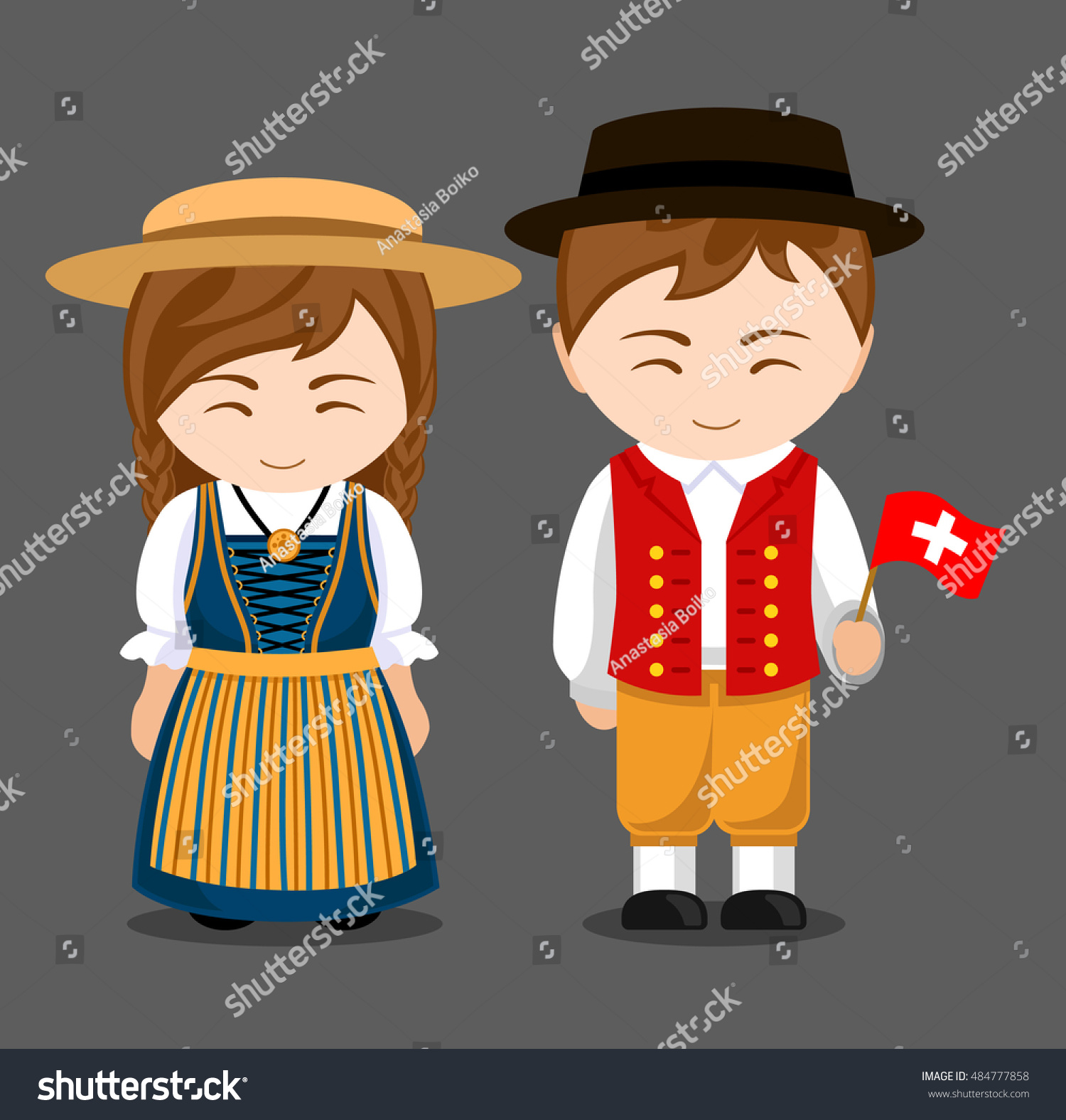 Swiss National Dress Flag Man Woman Stock Vector 484777858