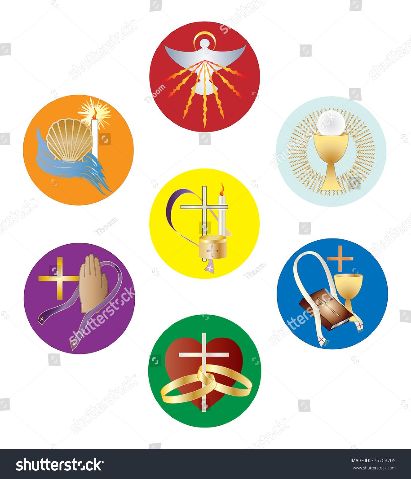 Symbols Seven Sacraments Catholic Church Color Stock