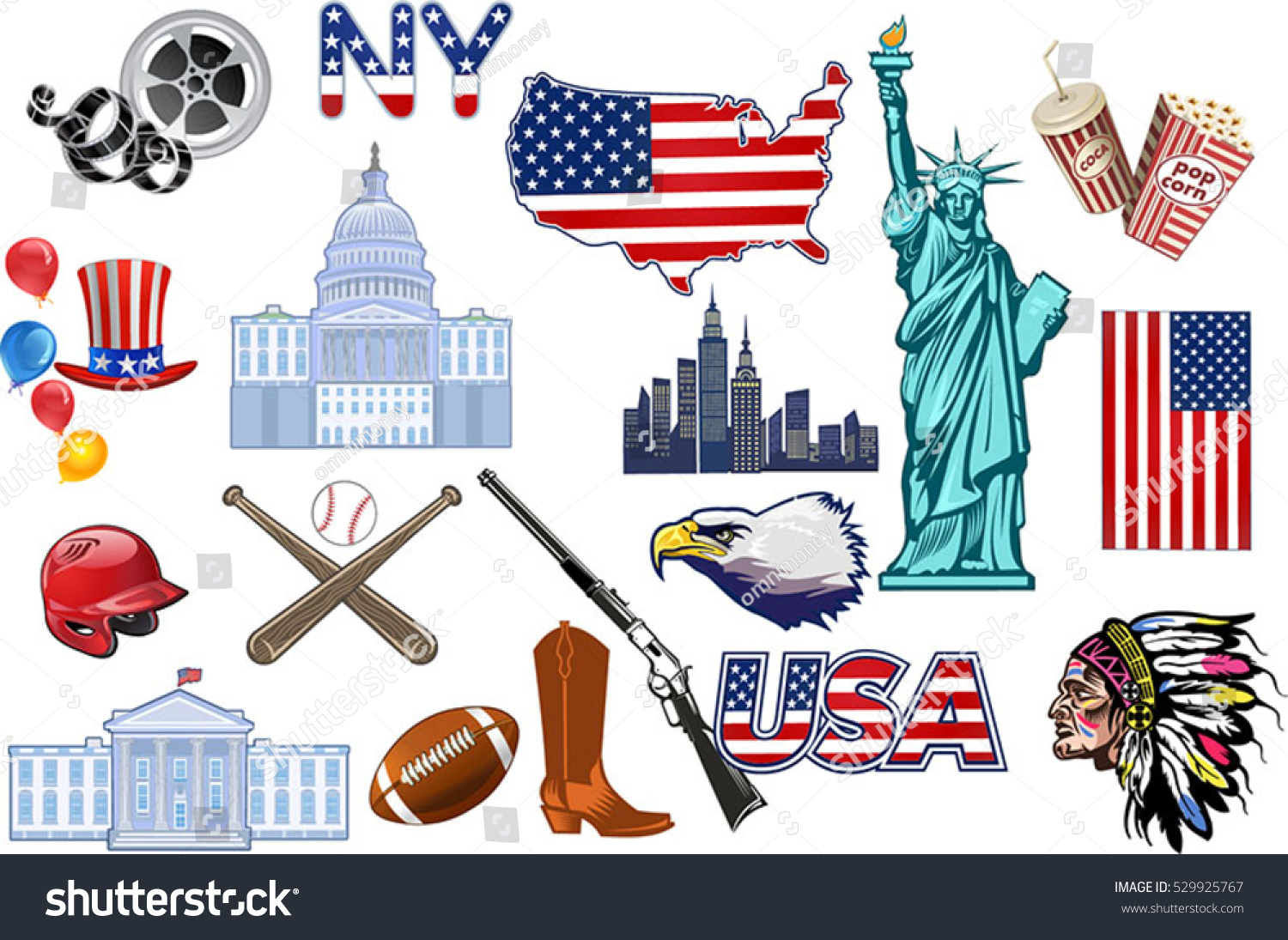 Symbols Usa Stock Vector