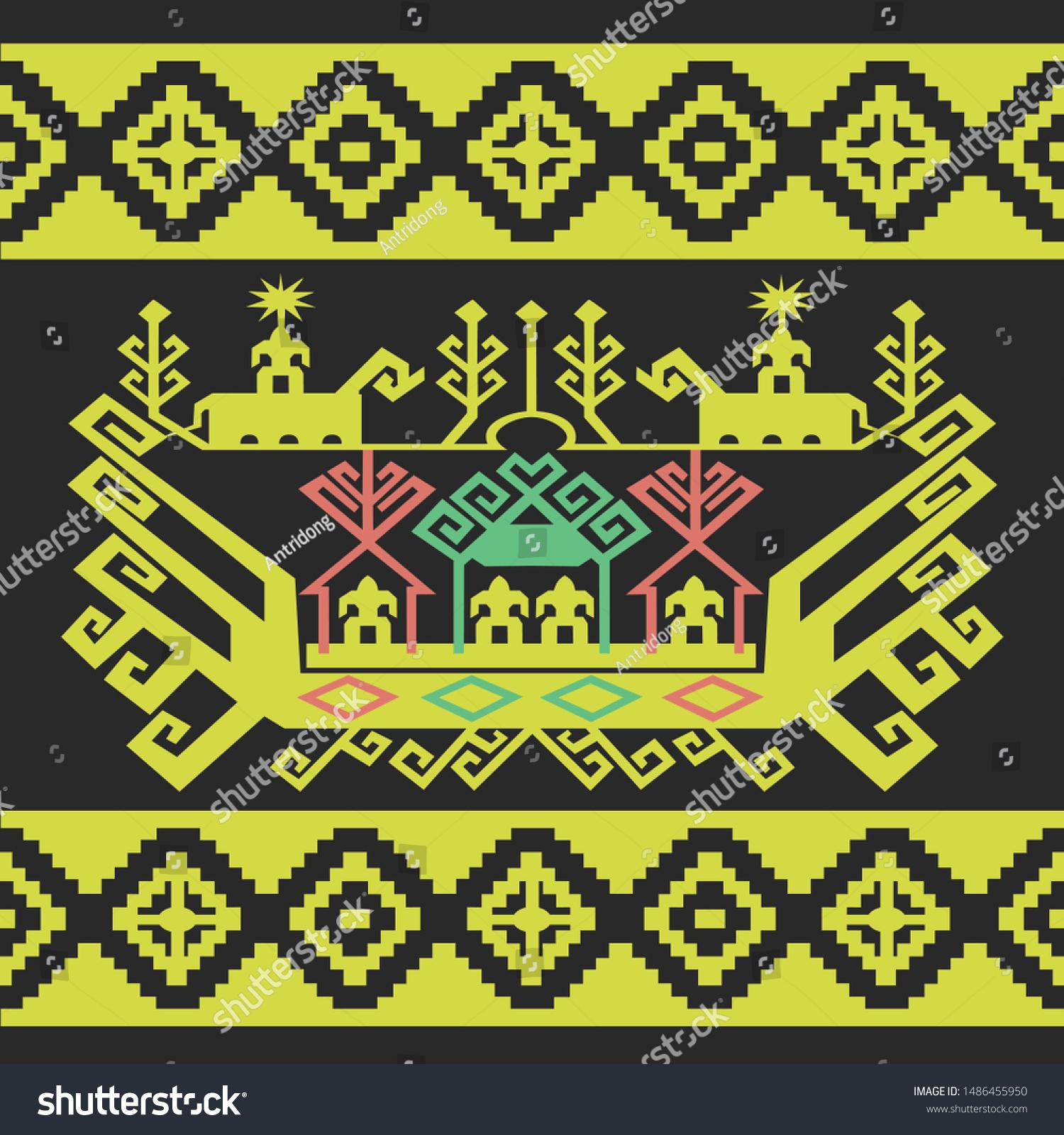 https www shutterstock com de image vector tapis lampung sarong made by weaving 1486455950